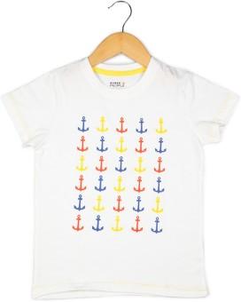 People Printed Boy's Round Neck White T-Shirt