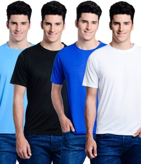 Superjoy Solid Men's Round Neck Light Blue, Black, Blue, White T-Shirt Pack Of 4
