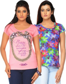 Jazzup Printed Women's Round Neck Pink, Multicolor T-Shirt Pack Of 2