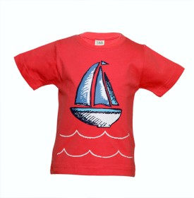 Tales & Stories Graphic Print Boy's Round Neck Red T-Shirt