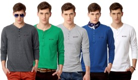 Rodid Solid Men's Henley Grey, Green, Grey, Blue, White T-Shirt Pack Of 5
