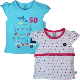 FS Mini Klub Printed Baby Girl's Round Neck Pink T-Shirt Pack Of 2