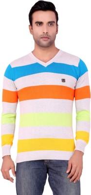 Aliep Aliep ALP1808MUL Striped Men's V-Neck T-Shirt (Multicolor)