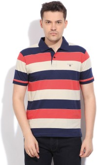 Gant Striped Men's Polo Beige, Blue, Pink T-Shirt