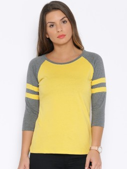 Cult Fiction Solid Women's Round Neck Yellow T-Shirt