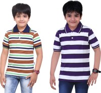 Dongli Striped Baby Boy's Polo Neck Dark Green, Purple T-Shirt (Pack Of 2)