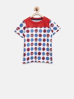 YK Printed Boy's Round Neck White T-Shirt