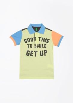 UCB Printed Boy's Polo Grey, Blue, Green T-Shirt