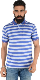 Download Apparel Striped Men's Polo Neck Blue, Grey T-Shirt