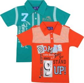 SPN Garments Printed Boy's Polo Neck Green, Orange T-Shirt Pack Of 2