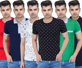 Stylogue Solid, Printed Men's Polo Neck, Round Neck T-Shirt Pack Of 6 - TSHEABBGQRVYNHZF