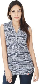 Integriti Printed Women's Flap Collar Neck T-Shirt