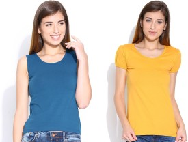 Happy Hippie Solid Women's Round Neck Yellow, Blue T-Shirt Pack Of 2