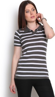Manola Striped Women's Flap Collar Neck Grey T-Shirt