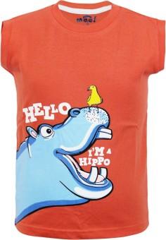 Kothari Printed Boy's Round Neck Orange T-Shirt