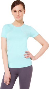 Amante Solid Women's Round Neck Light Blue T-Shirt