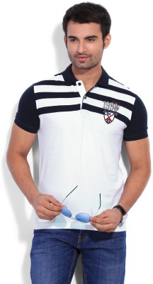 Mufti Mufti Striped Men's Polo T-Shirt (White)