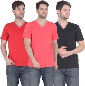 E'hiose Solid Men's V-neck T-Shirt Pack Of 3