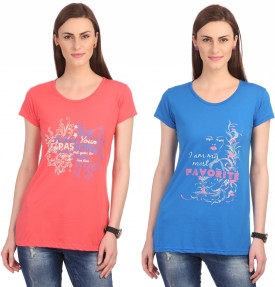 Neva Graphic Print Women's Round Neck Pink, Blue T-Shirt Pack Of 2