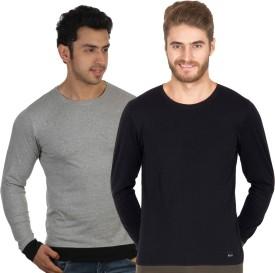 Rigo Grey Solid Men's Round Neck T-Shirt (Pack Of 2)