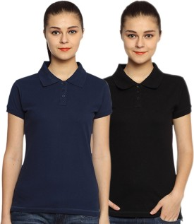 Go India Store Solid Women's Polo Neck Black, Dark Blue T-Shirt Pack Of 2