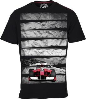 Huetrap Racing Red Car Black Graphic Print Men's Round Neck T-Shirt