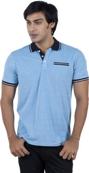 Stop To Start Solid Men's Polo Neck Light Blue T-Shirt