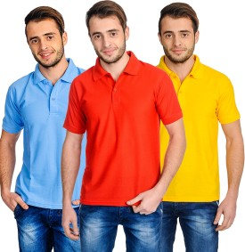 Superjoy Solid Men's Polo Neck Light Blue, Yellow, Red T-Shirt Pack Of 3