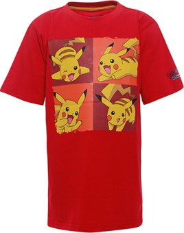 Pokemon Printed Boy's Round Neck Red T-Shirt