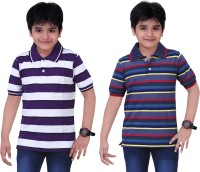 Dongli Striped Baby Boy's Polo Neck Purple, Blue T-Shirt (Pack Of 2)