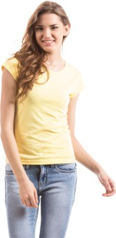 Prym Solid Women's Round Neck Yellow T-Shirt