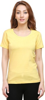 Tee Talkies Solid Women's Round Neck Yellow T-Shirt