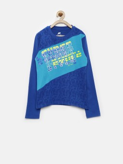 Yellow Kite Printed Boy's Round Neck Blue T-Shirt