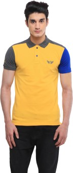 BRAVEZI Solid, Self Design Men's Polo Neck Yellow, Grey, Blue T-Shirt