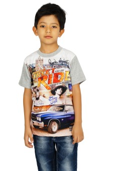 Shaun Printed Boy's Round Neck Grey T-Shirt
