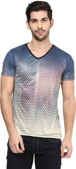 Yepme Printed Men's V-neck Blue T-Shirt