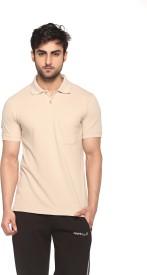 Sport Sun Solid Men's Polo Neck Beige T-Shirt
