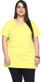 PlusS Solid Women's Round Neck Yellow T-Shirt