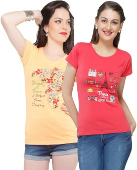 Jazzup Printed Women's Round Neck Beige, Red T-Shirt Pack Of 2