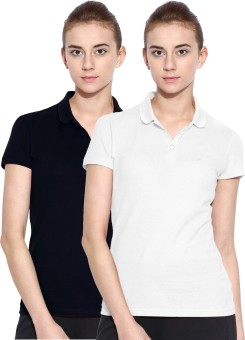 Polo Nation Solid Women's Polo Neck White, Dark Blue T-Shirt Pack Of 2