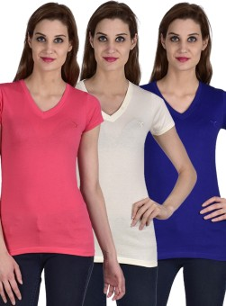 Youthen Solid Women's V-neck White, Blue, Pink T-Shirt Pack Of 3