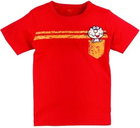 Oye Solid Boy's Round Neck Red T-Shirt