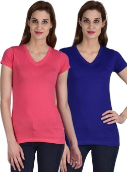 YouthenX Solid Women's V-neck Dark Blue, Pink T-Shirt Pack Of 2