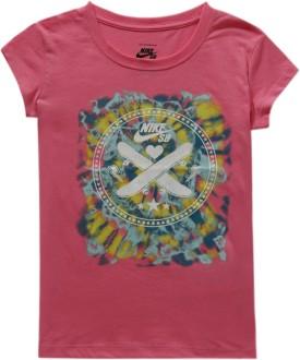 Nike Kids Graphic Print Girl's Round Neck Pink T-Shirt