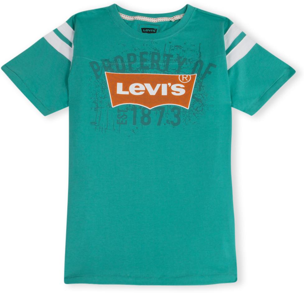 Levi 39 S Self Design Boy 39 S Round Neck T Shirt Buy Blue
