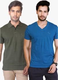 LUCfashion Solid Men's Polo Neck Green, Blue T-Shirt