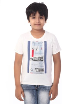 Rugby Printed Boy's Round Neck White T-Shirt