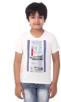 Rugby Printed Boy's Round Neck White T-Shirt