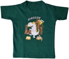 British Terminal Animal Print Boy's Round Neck Green T-Shirt