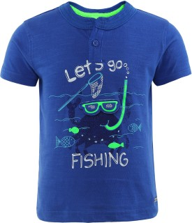FS Mini Klub Printed Boy's Round Neck Blue T-Shirt